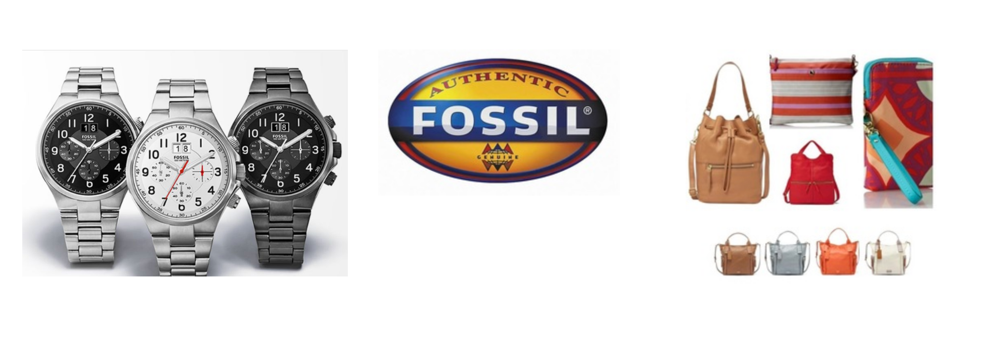 Fossil watches, handbags